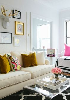 Love the gold accents in this room.
