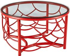 Red Home Accessories Coffee Tables - Dot Rattan Coffee Table with Glass Top Antique Red. Stylish Coffee Table, Rattan Coffee Table, Glass Top Coffee Table, Cool Coffee Tables, Round Coffee Table, Coffee Table Design, Red Home Accessories, Antique Chandelier, Joss And Main