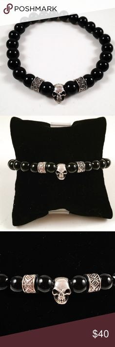 Men onyx beaded bracelet, sterling silver skull. Men beaded bracelet. Fits most , 7.5 to 8.5 inch wrist. Handmade by me , never worn by anyone. Made with Onyx beads. Sterling silver 9.25 skull charm .  Tibetan silver deco beads. I ship fast !!✈️ Free gift with every purchase!! Accessories Jewelry