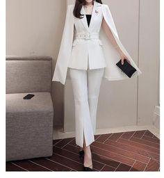 Jacket & Trousers Two-piece Suit Sets Classy Work Outfits, Stylish Outfits, Emo Outfits, Korea Fashion, Asian Fashion, Korean Fashion Office, Corporate Attire, Cute Fashion, Rock Fashion
