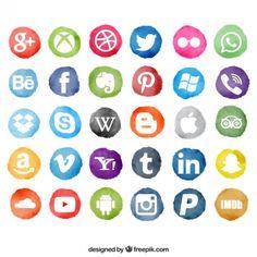 A mídia social com manchas de aquarela Vetor grátis