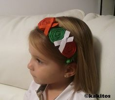 KAKITOS , Lazos y accesorios , Complementos para el pelo , Diademas y Tocados , Diademas de flores de cinta y tela
