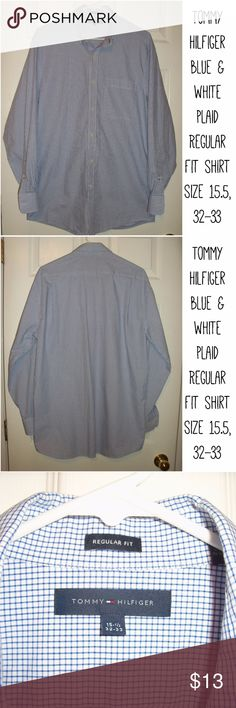 """Tommy Hilfiger blue & white plaid Regular Fit Men's Tommy Hilfiger blue & white plaid Regular Fit dress shirt size 15.5, 32-33  Great condition!  Chest ~44"""" Length ~32"""" Tommy Hilfiger Shirts Dress Shirts"""