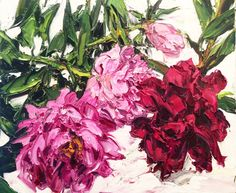 Cut peonies, oil on linen, 51 x 61 cm Martin Smith, Peony Print, Australian Artists, Painting Inspiration, Landscape Paintings, Peonies, Contemporary Art, Knife Art, Palette Knife