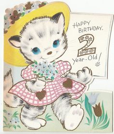 Vintage Kitty Girl in Hat with Flowers 2 year old Birthday Greeting Card