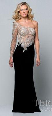 Black Embellished One Shoulder Dress
