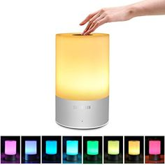 Touch Sensor Bedside Lamp, Satu Brown Smart LED Table Lamp Night Light Desk Lamps Portable Atmosphere Lighting, Dimmable Warm White Lights and Color Changing RGB * You can get more details by clicking on the image. (This is an affiliate link)