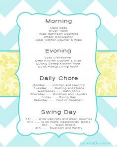 Mom's Chore Chart Printable {Free Download} | Corduroy Dreams