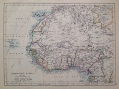 1906 NORTH-WEST AFRICA original antique map, historical, double-sided, Central Africa (West) map on other side, vintage colour map by NinskaPrints on Etsy https://www.etsy.com/uk/listing/262474541/1906-north-west-africa-original-antique