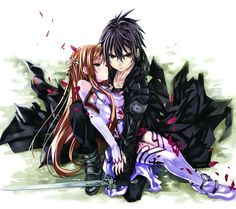I love this picture it's like don't touch her she is mine look on his face. #SAO