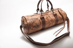 Caramel and coffee duffle / barrel tote (big enough to fit your iPad!)