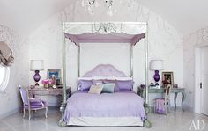 The shimmer of mirrored furniture makes this glamorous lavender bedroom so inviting Dream Bedroom, Home Bedroom, Bedroom Decor, Master Bedroom, Kids Bedroom, Bedroom Ideas, House Of Turquoise, Sharon Osbourne, Ozzy Osbourne