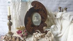 New to NostalgiqueBoutique on Etsy: Antique Edwardian Desk Photo Frame Wood Acanthus Leaf Shape & Decoration (95.00 GBP)