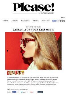 ZANZAN on PLEASE! http://www.pleasemagazine.com/zanzan-for-your-eyes-only.html #eyewear #sunglasses
