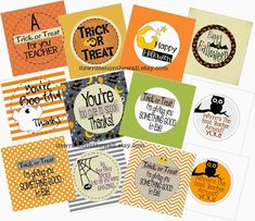 It's Written on the Wall: Seriously Cute Halloween Treat Tags for Teacher, Trick or Treat of Classroom Treats Halloween Teacher Gifts, Cute Halloween Treats, Halloween Goodie Bags, Halloween Tags, Halloween Goodies, Halloween Printable, Halloween Ideas, Halloween Stuff, Happy Halloween