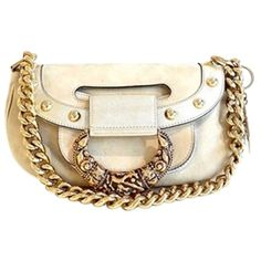 Pre-owned Versace Beige Suede/ Metallic Silver Shoulder Bag ($299) ❤ liked on Polyvore featuring bags, handbags, shoulder bags, cream, beige shoulder bag, pocket purse, suede handbags, white shoulder bag and flap handbags