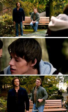 11x10 The Devil In The Details [gifset] - Lucifer taking Sam Winchester down memory lane; only on Supernatural