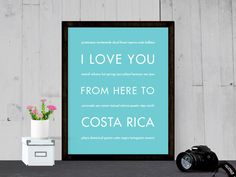 I Love You From Here To COSTA RICA art print