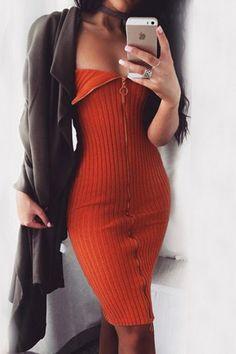 Tangerine Tube Top Zip Front Fastening Mini Dress