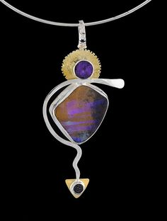 Medicine Woman with 22k gold and silver, amethyst, Australian boulder opal and black drusy