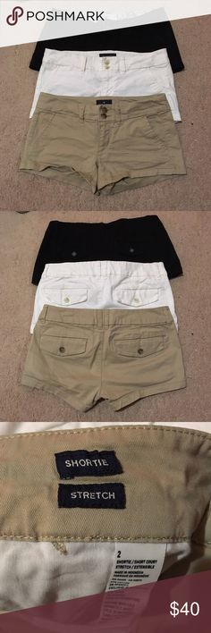 "American Eagle Black/Tan/White Shorts Bundle All size 2 and in perfect condition! Purchased these from another Posher, but they were just too short for my liking! Super soft, all three are stretch with 2.5"" inseam! Willing to sell separately! (: American Eagle Outfitters Shorts"
