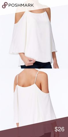 """Bar III 3/4 Sleeve Cold-Shoulder Top Cream, XL Perfect for date night, this flowy cold-shoulder top from Bar III will take your look to new fashion heights. Straight neckline Pullover style Three-quarter flutter sleeves with cold-shoulder cutouts; spaghetti straps Loose fit Hits at hip Polyester; lining: rayon/spandex Machine washable  Measurements, taken laying flat:  Armpit to armpit: 19.5"""" (does stretch)  Top front center to hem: 20""""  Armpit to end of sleeve: 12.5""""  This is brand new…"""