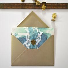 Louelle Design Studio Blue Watercolor Ombre Lace Wedding Invitation Rochester, New York