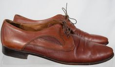 Vintage Bally Mens 12 D Shoes Brown Leather Oxfords Lace Up Made in Italy #Bally #Oxfords