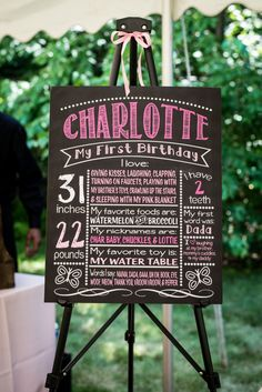 First Birthday Stats Chalkboard Sign - #firstbirthday