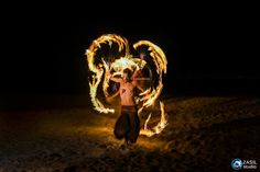 Rosewood Mayakoba, fire show on the beach with 20Varos collectivo