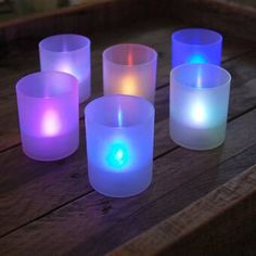"""Ophelia & Co. 6 Piece 5.5"""" Glass Tabletop Lantern & Reviews   Wayfair Battery Operated Led Lights, Led Candle Lights, Candle Lamp, Glass Candle, Flameless Candles, Votive Candles, Color Changing Lights, Votive Holder, Led Centerpieces"""