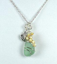 Sea Glass Pendant Necklace Sea Foam Green by LaurieRobertsJewelry, $35.99