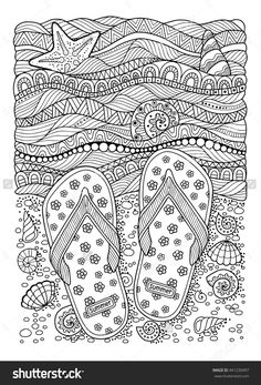 Beach flip-flops adult coloring page sheet. Beach flip-flops adult coloring page sheet. Summer Coloring Sheets, Beach Coloring Pages, Coloring Book Pages, Printable Coloring Pages, Coloring For Kids, Colouring In, Colouring Pages For Adults, Unique Coloring Pages, Mandalas Drawing