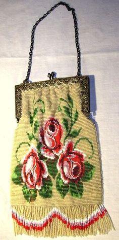 GORGEOUS ANTIQUE BEADED VICTORIAN LADIES PURSE - ROSE DESIGN - ESTATE | eBay