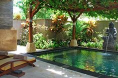 Villa entrance water feature bali style home garden for Garden plunge pool uk