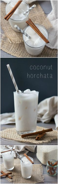 Coconut Horchata Coconut Horchata- tastes just like a rice pudding milkshake, with a hint of tropical coconut :) Juice Smoothie, Smoothie Drinks, Smoothie Recipes, Mexican Food Recipes, Dessert Recipes, Desserts, Jelly Recipes, Comida Latina, Coconut Recipes