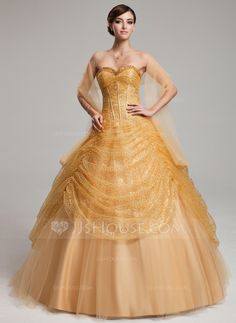 [US$ 218.99] Ball-Gown Sweetheart Floor-Length Tulle Sequined Quinceanera Dress With Ruffle (021004561)
