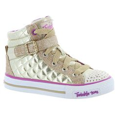 Skechers Twinkle Toes: Shuffles-Sweetheart Sole (Girls' Toddler-Youth) ($55) ❤ liked on Polyvore featuring shoes, gold, quilted shoes, gold shoes, velcro strap shoes, velcro closure shoes and metallic shoes
