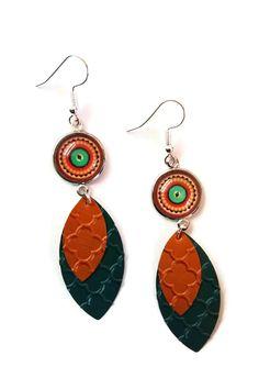 Boucles d'Oreilles Cabochon Multicolores - Gouttes Capsules Nespresso - Vertes Oranges : Boucles d'oreille par cap-and-pap