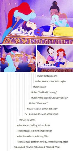 While Other Disney Princesses Mourn For Snow White, Mulan don't give any fucks.thank god for funny people and their twisted outlook on the world (and Disney princesses). Funny Disney, Disney Memes, Disney Love, Disney Magic, Sassy Disney, Disney Girls, Disney Stuff, Disney And Dreamworks, Disney Pixar