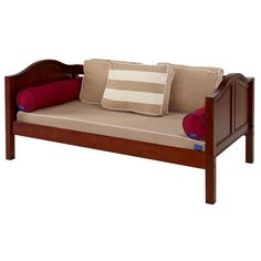 Solid hardwood day bed frame shown with back pillows, bolster & mattress cover. Available in other finishes, bed ends & fabric colors. This bed can be converted into other beds too like bunks & lofts. #daybeds