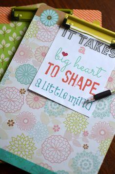 Teacher Appreciation gift ( clipboard with matching pen) -