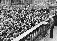 """Reichminister Joseph Goebbels delivers a speech to a crowd in Berlin urging Germans to boycott Jewish-owned businesses. He defends the boycott as a legitimate response to the anti-German """"atrocity propaganda"""" being spread abroad by """"International Jewry."""" April 1, 1933."""
