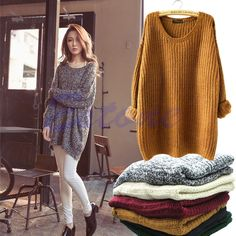 Women Oversized Batwing Sleeve Knitted Sweater Tops Loose Cardigan Outwear Coat…