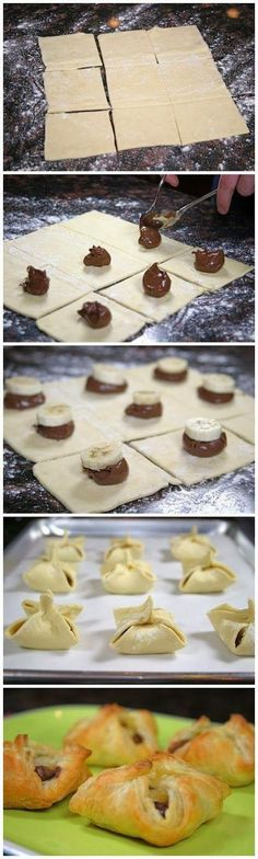 Nutella and Banana Pastry Purses. These are so easy to make and only take a few minutes. 1 sheet frozen puff pastry dough Nutella 1 banana some Just Desserts, Delicious Desserts, Dessert Recipes, Yummy Food, Snacks Recipes, Puff Pastry Dough, Puff Pastry Recipes, Puff Pastries, Nutella Puff Pastry
