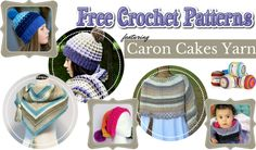 Caron Cakes Yarn - These are free crochet patterns which show off the yarn's self-striping capability beautifully - shawls, scarfs, sweaters, bags, etc. Tunisian Crochet Free, Crochet Stitches, Free Crochet, Crochet Kits, Crochet Afghans, Crochet For Kids, Easy Crochet, Crochet Hooks, Crochet Scarves