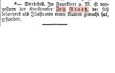 Sterbeanzeige für  FRITZ GRAETZ, Died in VIENNA not in Frankfurt Art Studies, Frankfurt, Vienna, Comedians, Magazine, Magazines, Warehouse, Newspaper