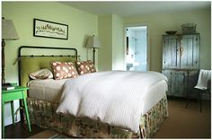 Carrier and Company | Portfolio: Dove Meadow, upholstered headboard iron bed.  like like a lot!