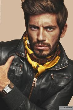 Black Leather Jacket, Yellow Silk Scarf, and Horsebit Watch, by Hermés. Men's Fall Winter Fashion.