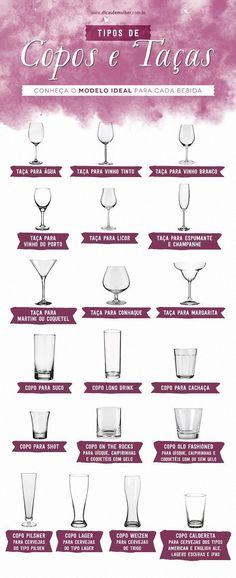 Servir cada tipo de bebida em seu copo ou taça ideal ajuda a realçar os aromas e conservar a temperatura mais adequada, além de ser o maior charme.